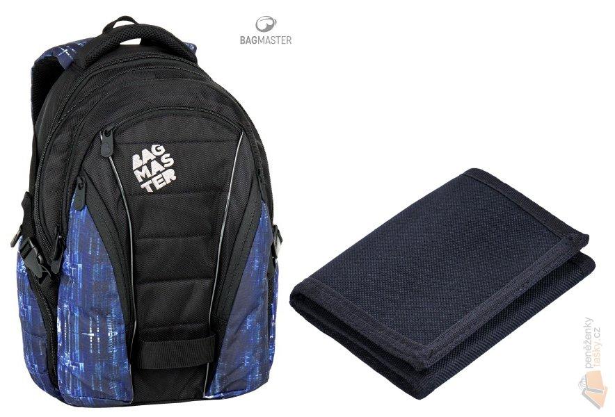 ee610a0e5cf Bagmaster studentský batoh BAG 7 G BLACK BLUE WHITE + textilní peněženka  Famito