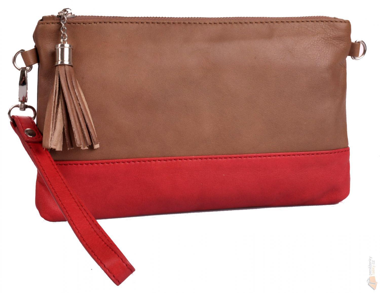 e05af4663f Kristy.X dámská kožená kabelka přes rameno 688592 A hnědo červená ...