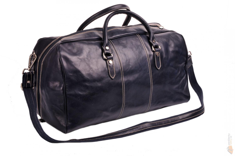 1035c553404a IL GIGLIO Kožená cestovní taška 0788 tmavě modrá   Kabelky ...