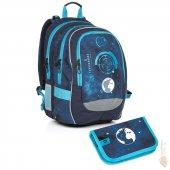 Topgal Školní batoh CHI 799 D blue - jednopatrové pouzdro CHI 813 D -  Doprava zdarma 710df60bb4